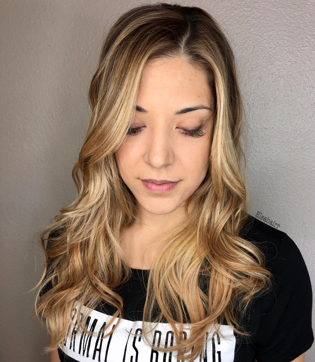 Long Wavy Blonde Balayage Hairstyle