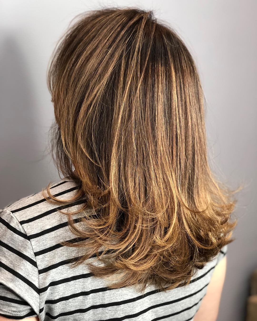 Light Brown Balayage Hair with Honey Highlights