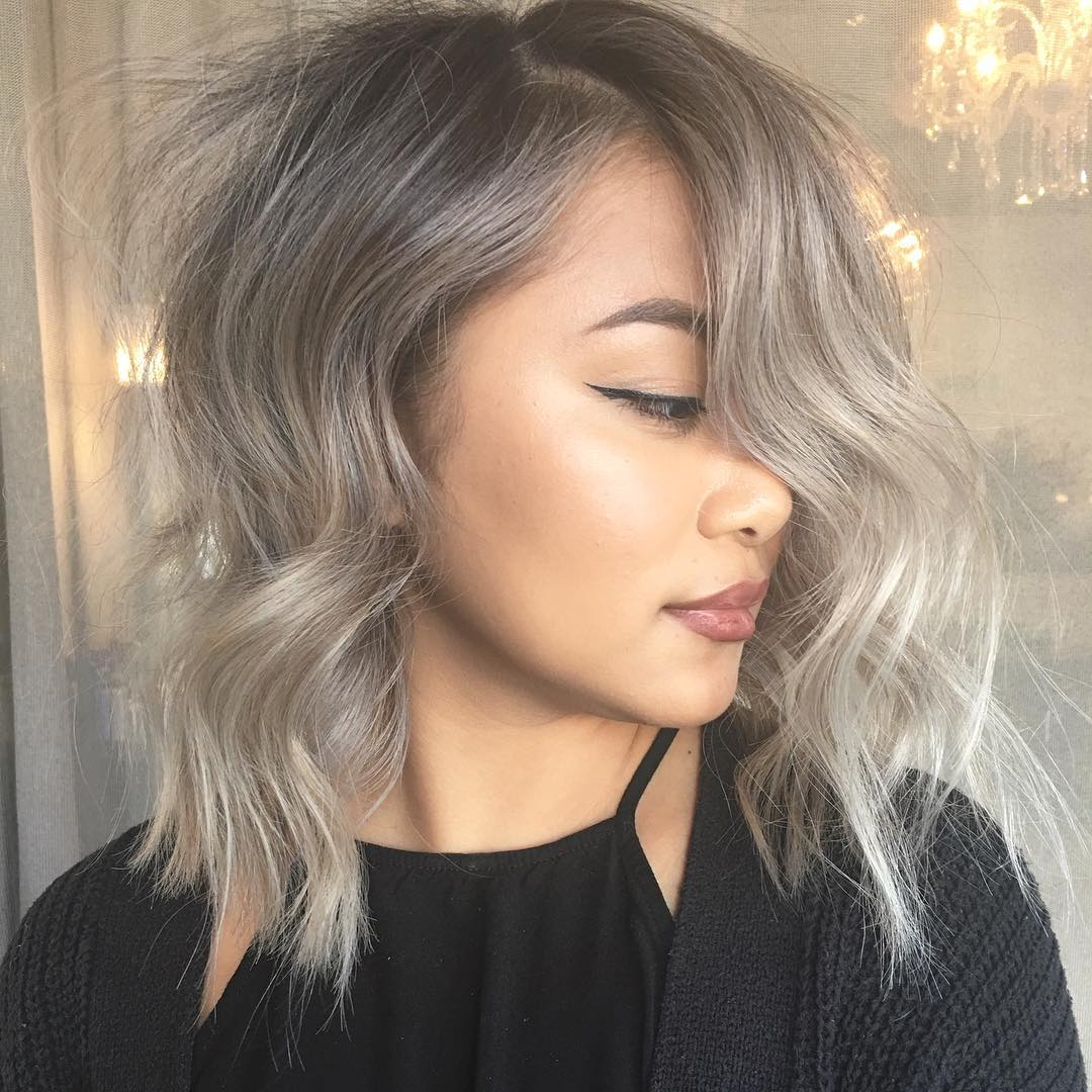 Textured Gray lob for Thin Hair