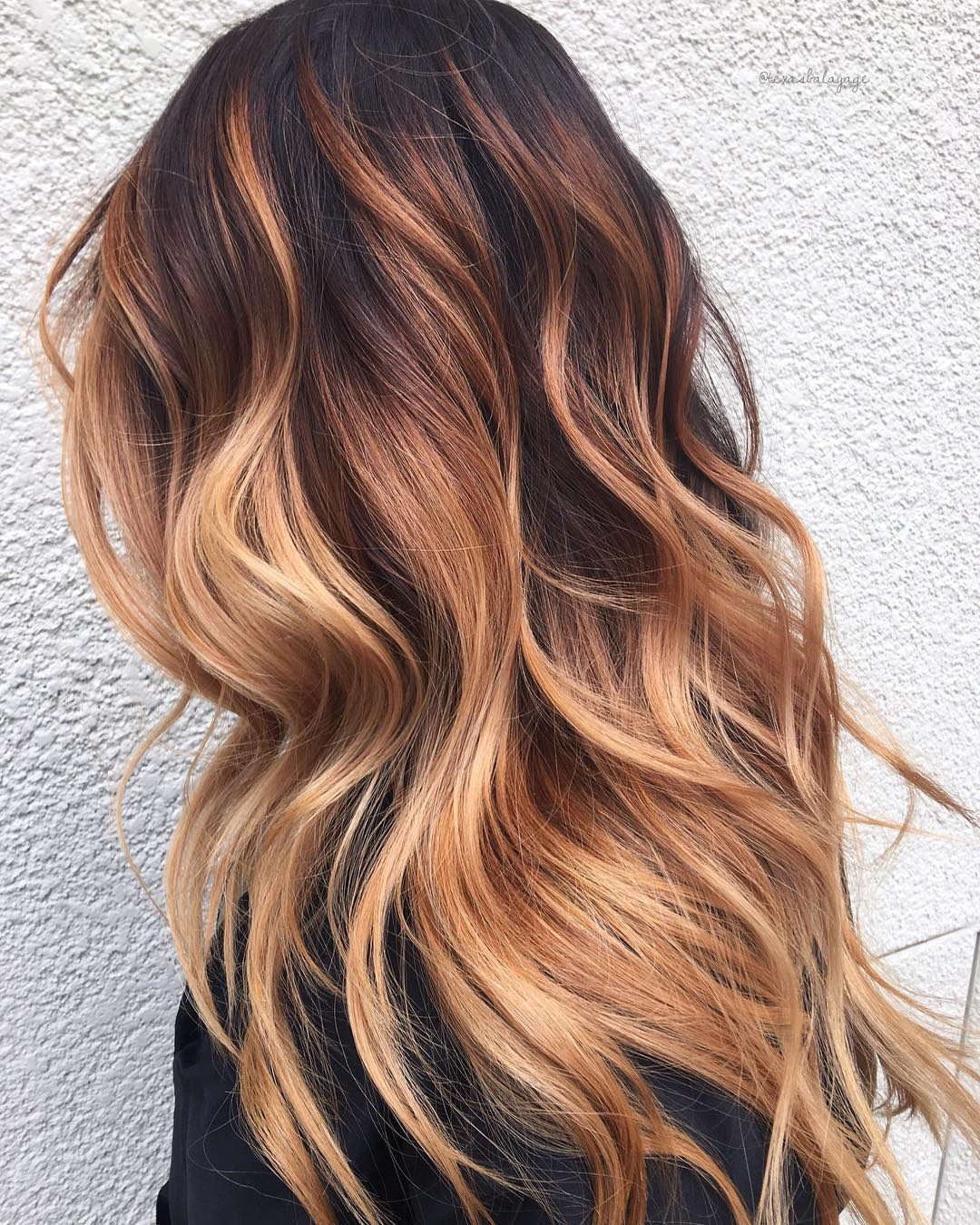 Strawberry Blonde Balayage with Dark Roots