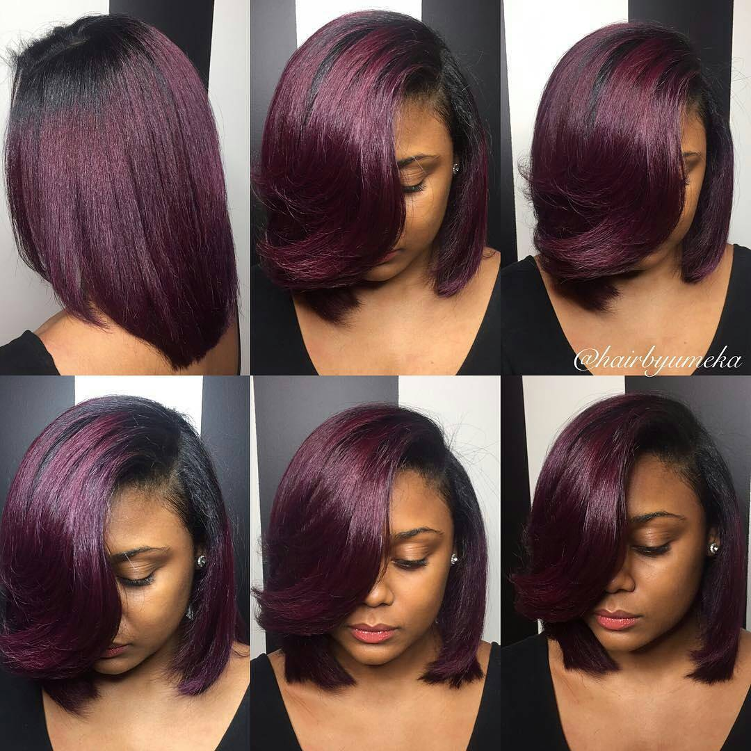 Burgundy Bob with Dark Roots
