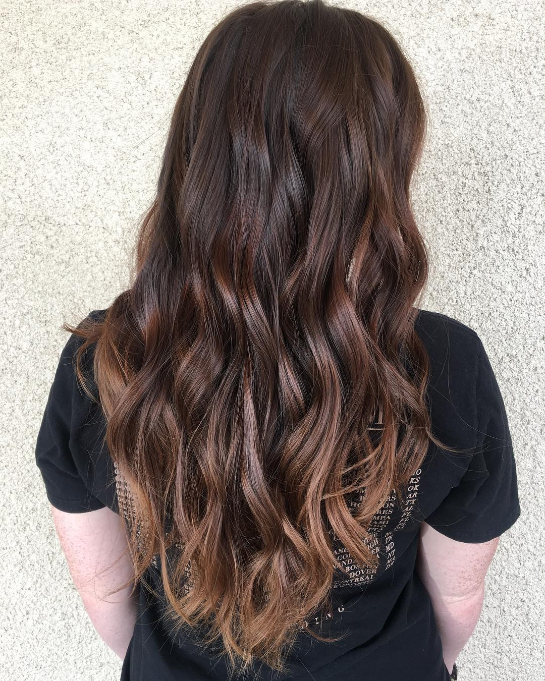 Long Caramel Brown Hair with Waves