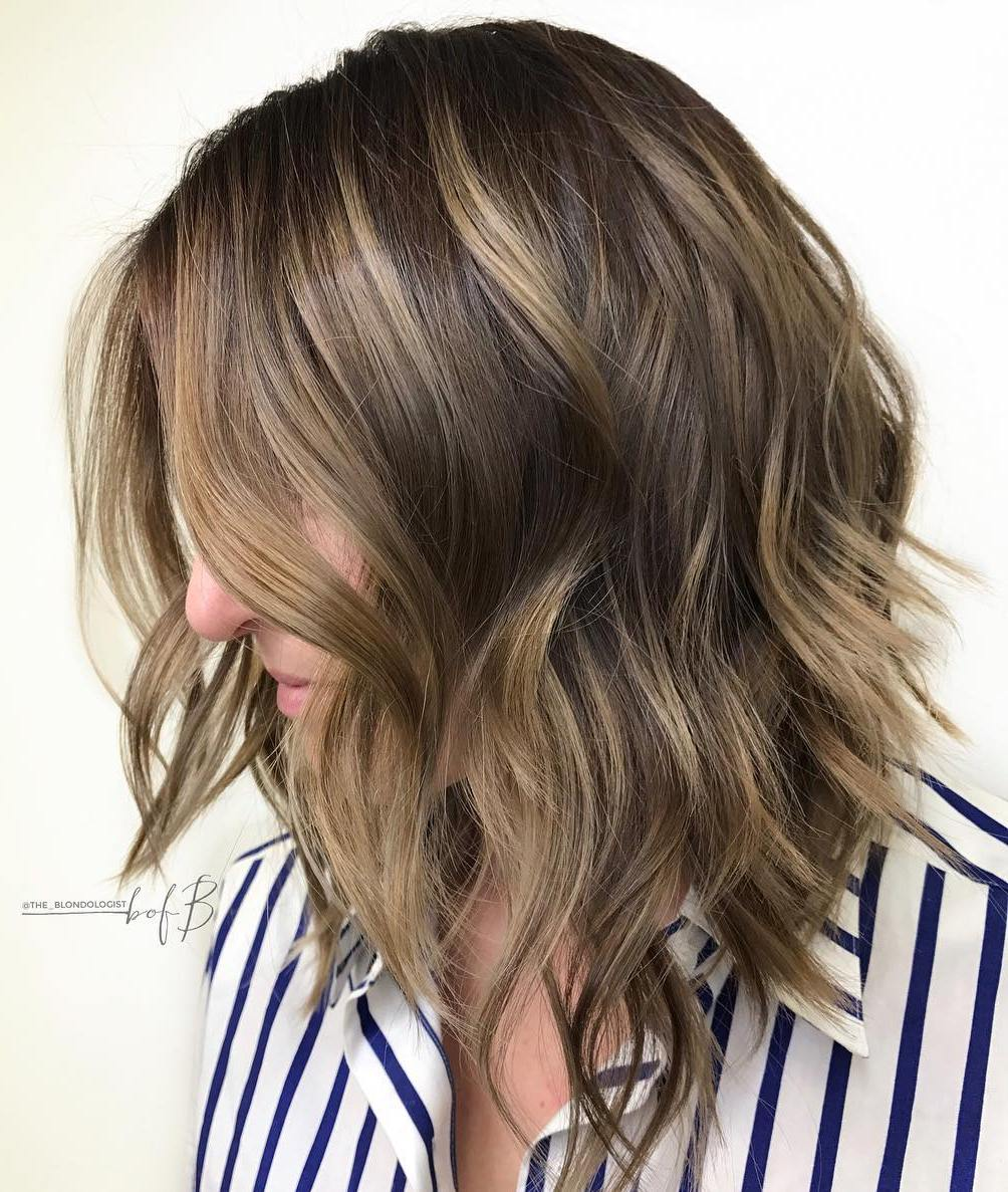 Wavy Layered Brunette Lob