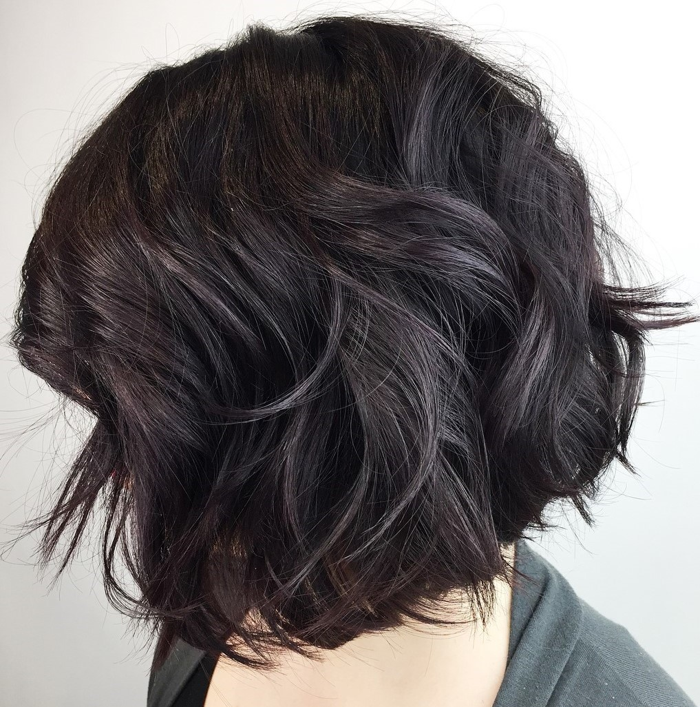 Short Dark Bob for Thick Wavy Hair