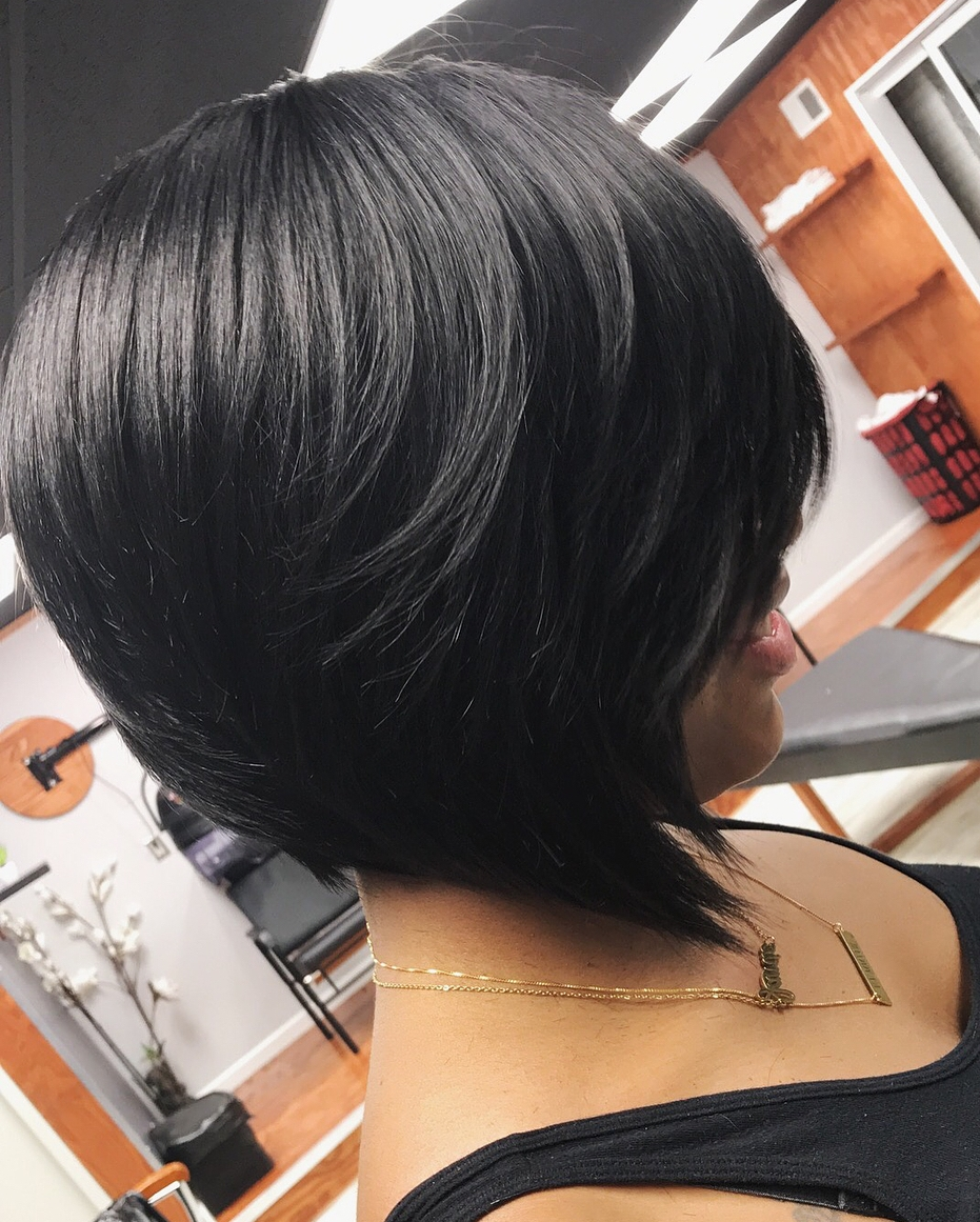 Black Stacked Bob Hairstyle