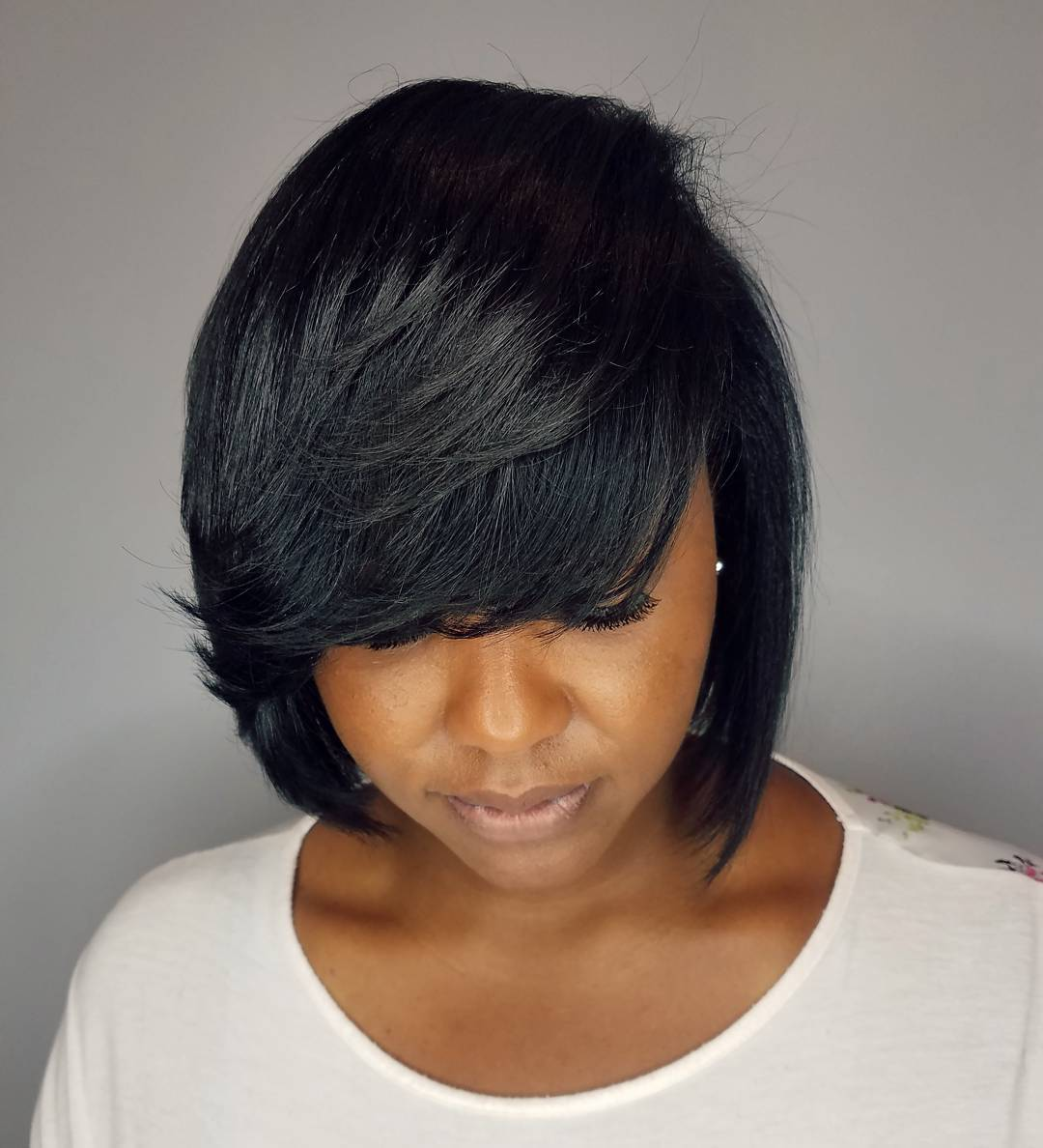 Cute Layered Jet Black Bob