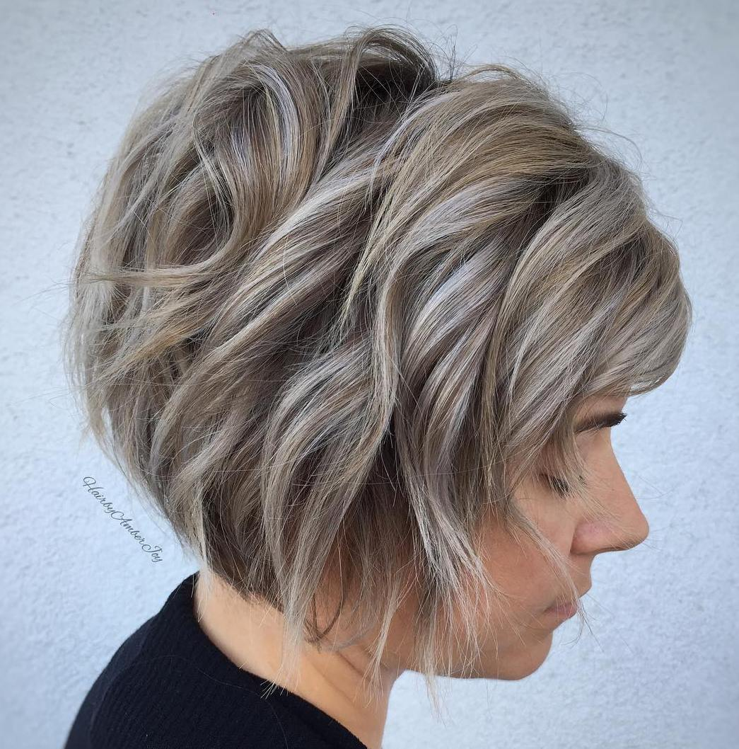 Short Blonde Bob with Gray Highlights