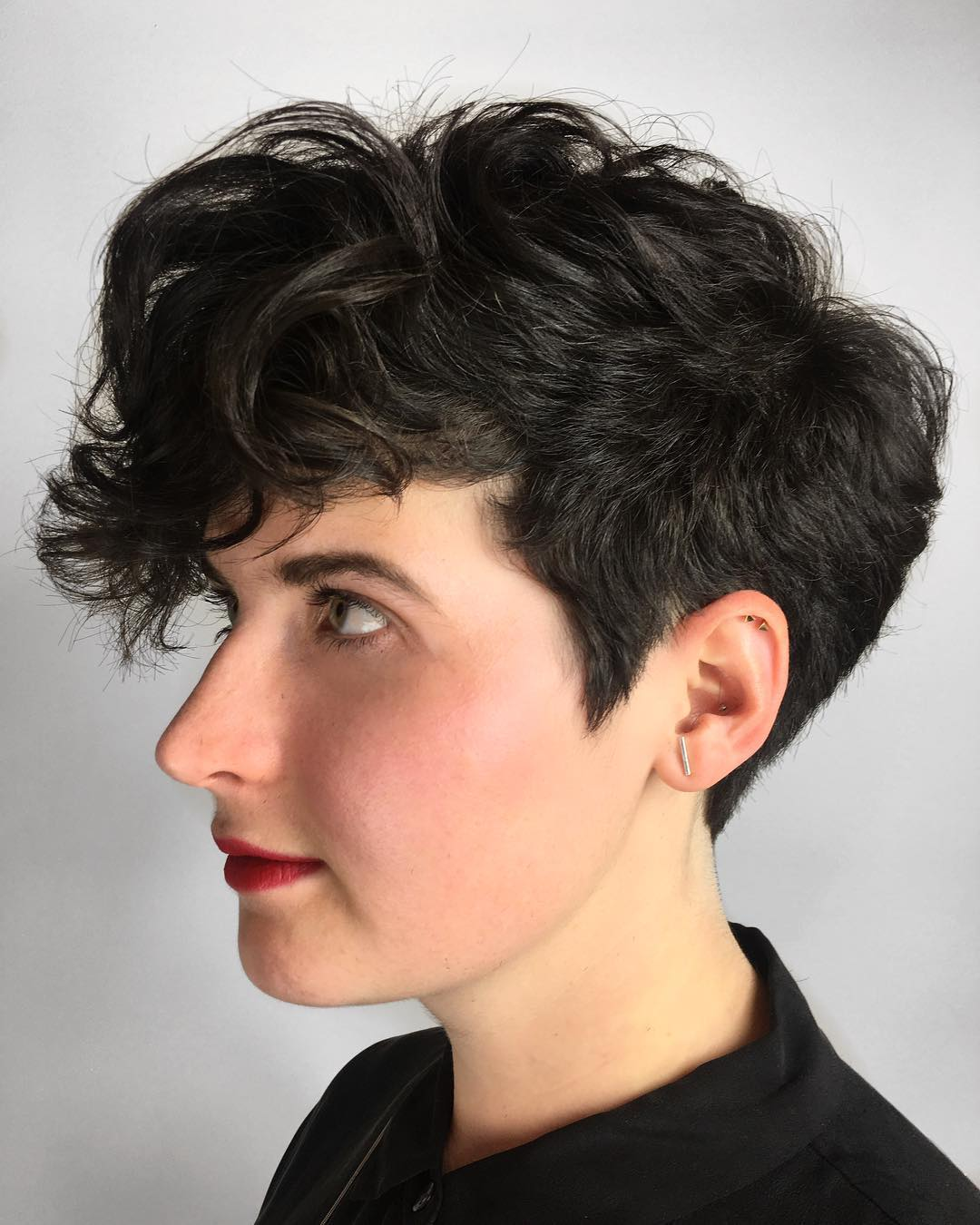 Tapered Pixie with Curly Bangs