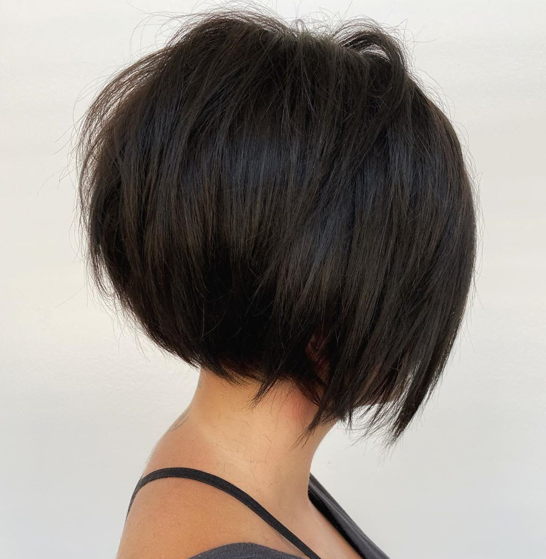 Puffy Short Stacked Bob Haircuts