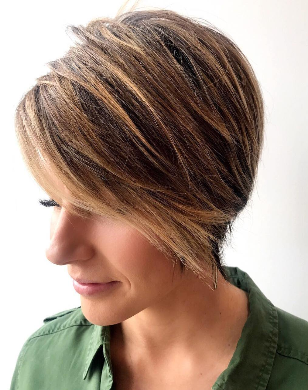 Long Pixie with Blonde Balayage Highlights
