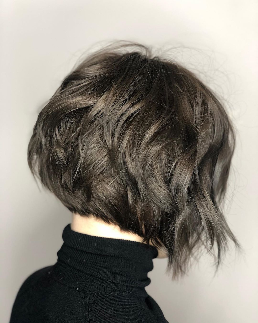Wavy Inverted Bob Haircut Back View
