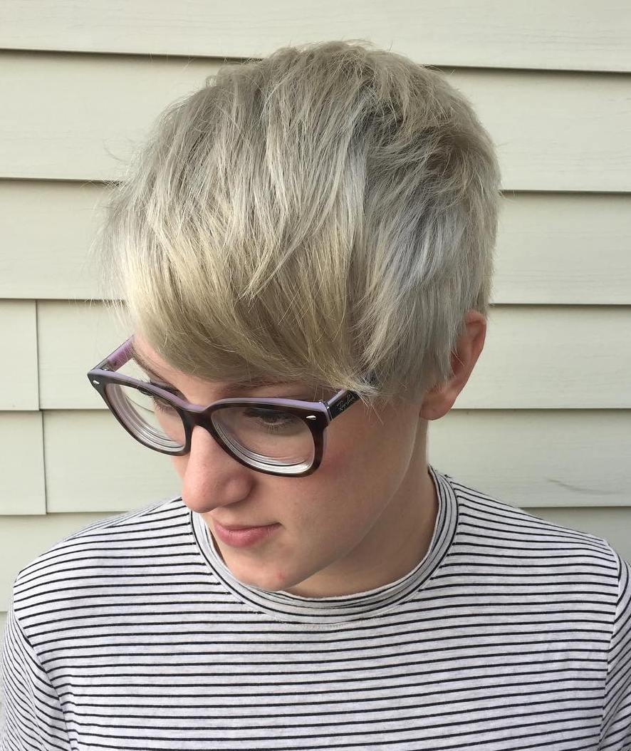Platinum Blonde Pixie with Bangs