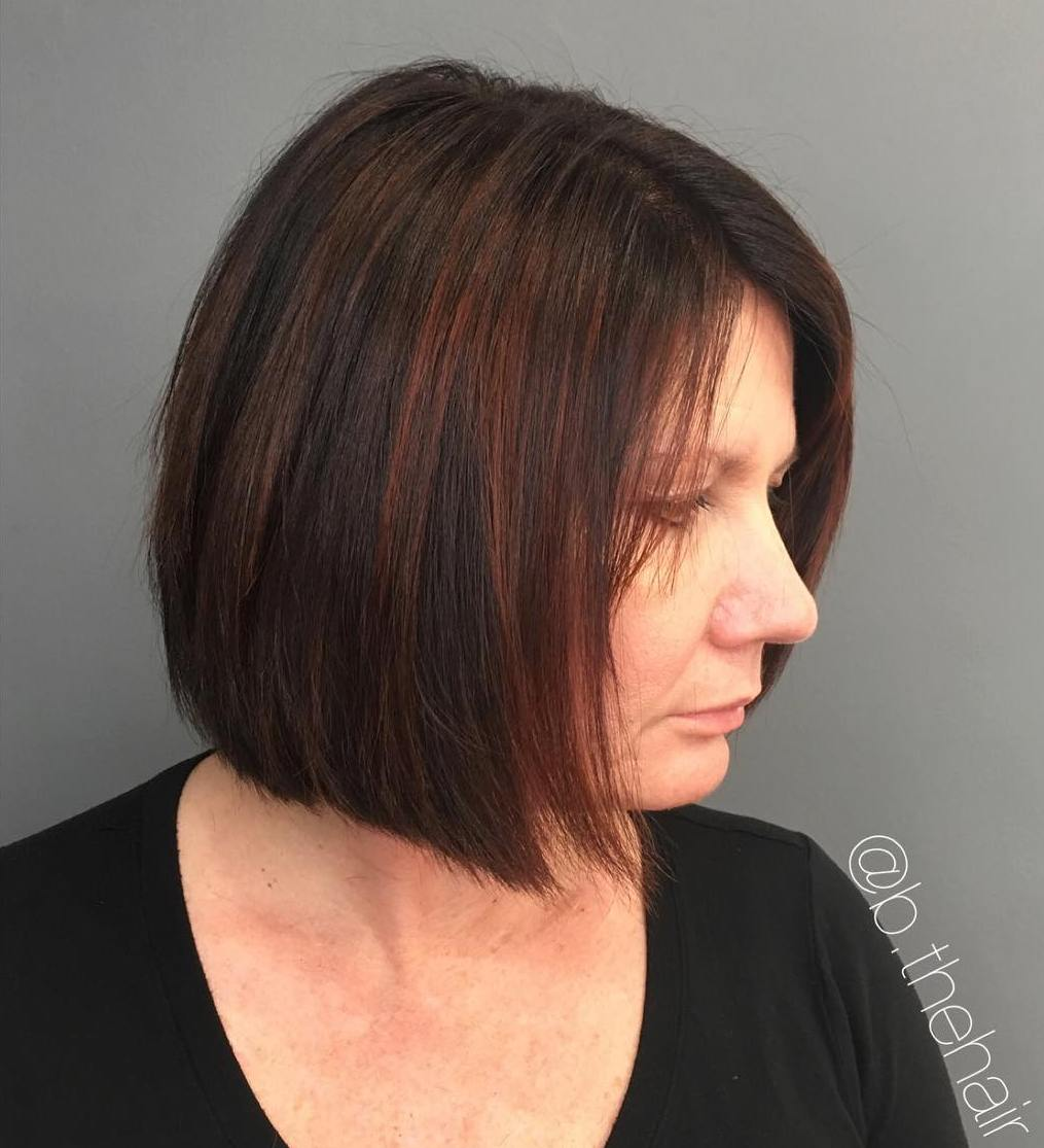 Classic Brunette Bob with Subtle Highlights