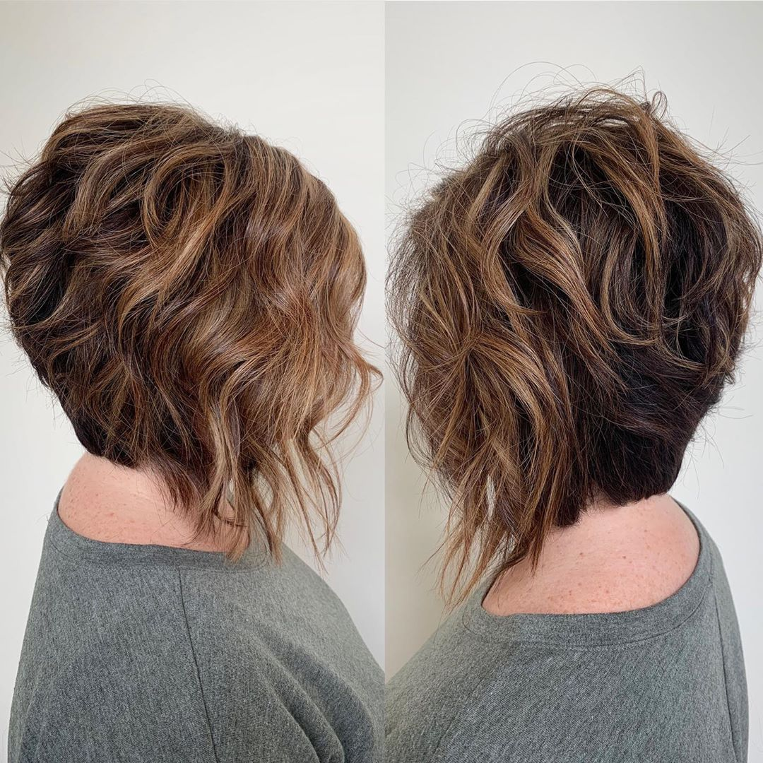 Stacked Balayage Bob for Curly Hair