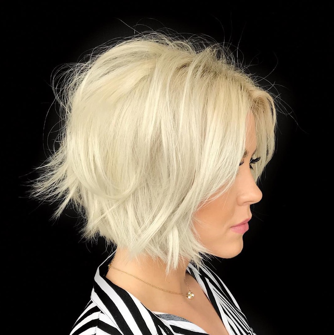 Platinum Bob with Long Stacked Layers