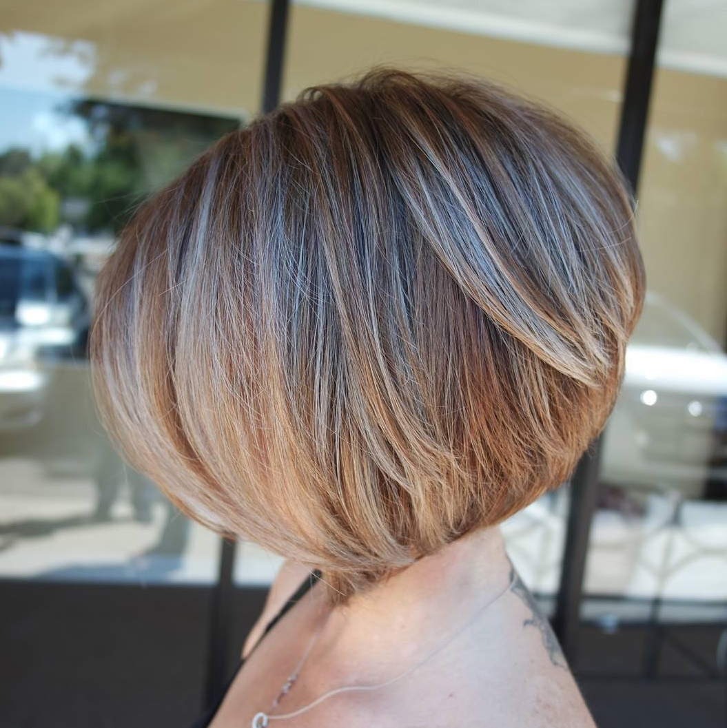 Beautiful Caramel Blonde Stacked Bob