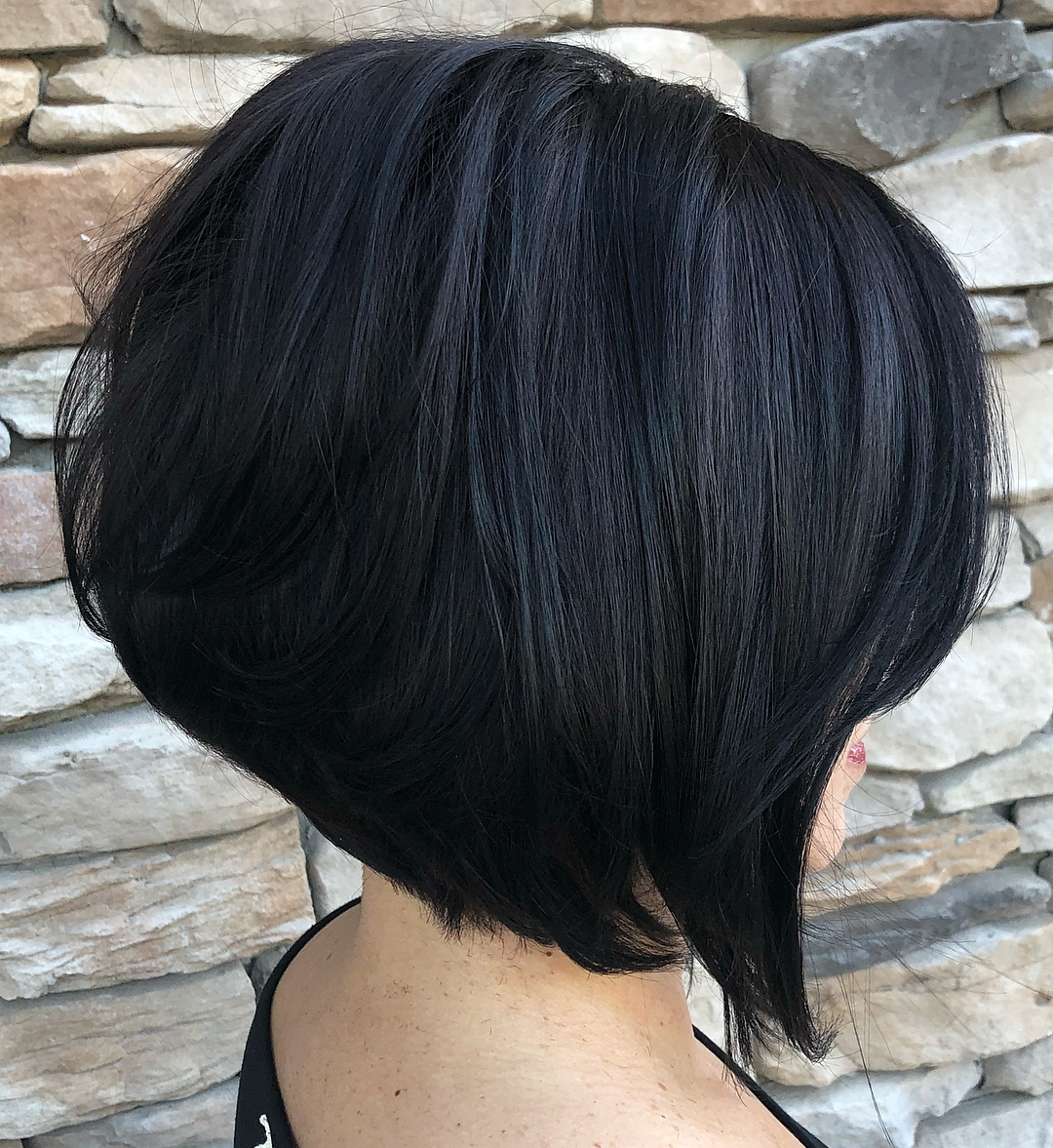 Black A-line Bob for Thick Hair