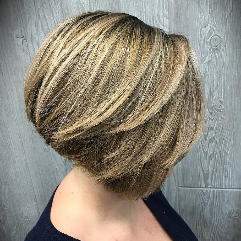 Wheat Blonde Feathered Inverted Bob