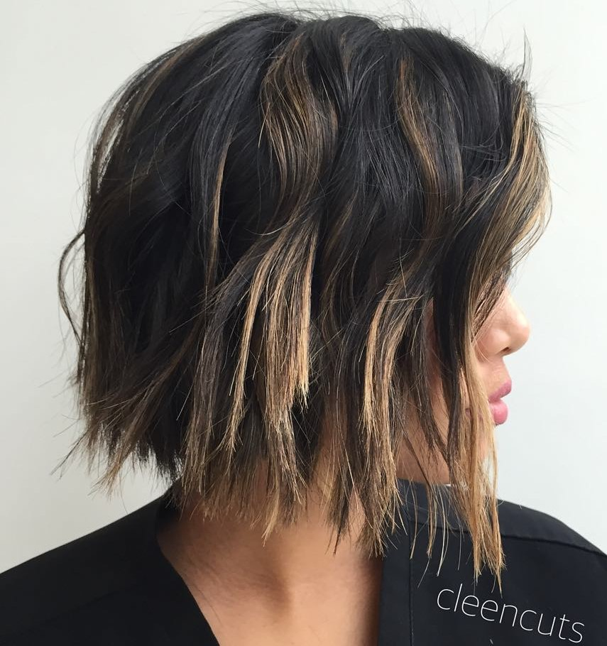 Razor Cut Bob with Partial Highlights