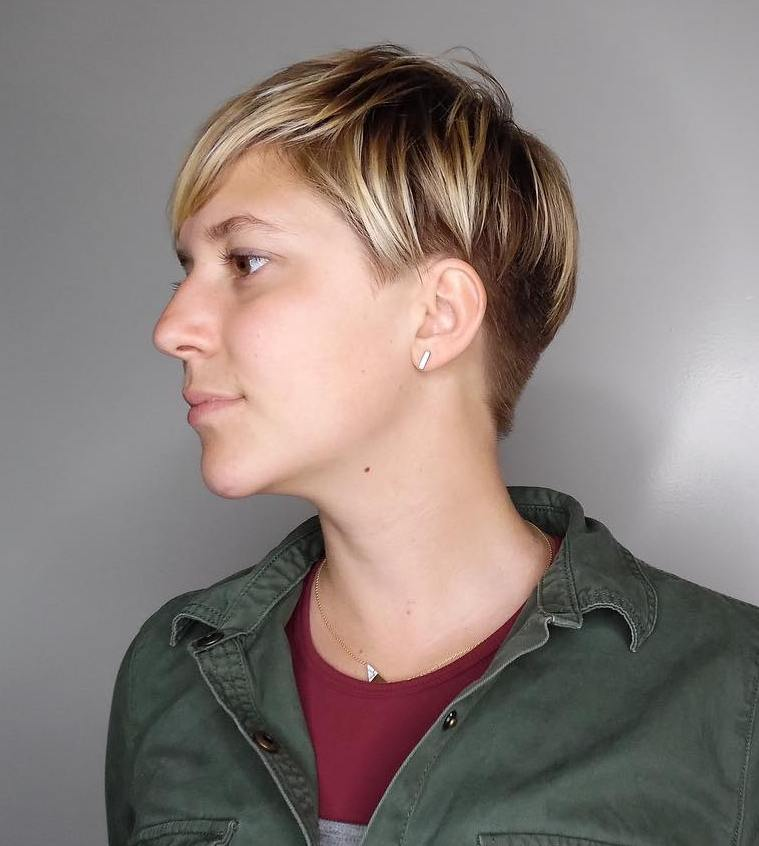 Sun-Kissed Pixie with Short Sides and Back