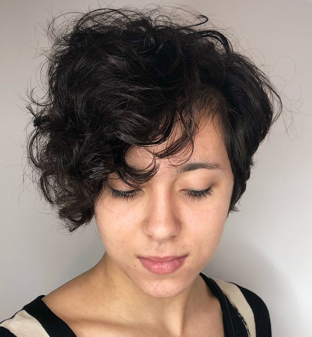 Curly Pixie Bob with Long Bangs