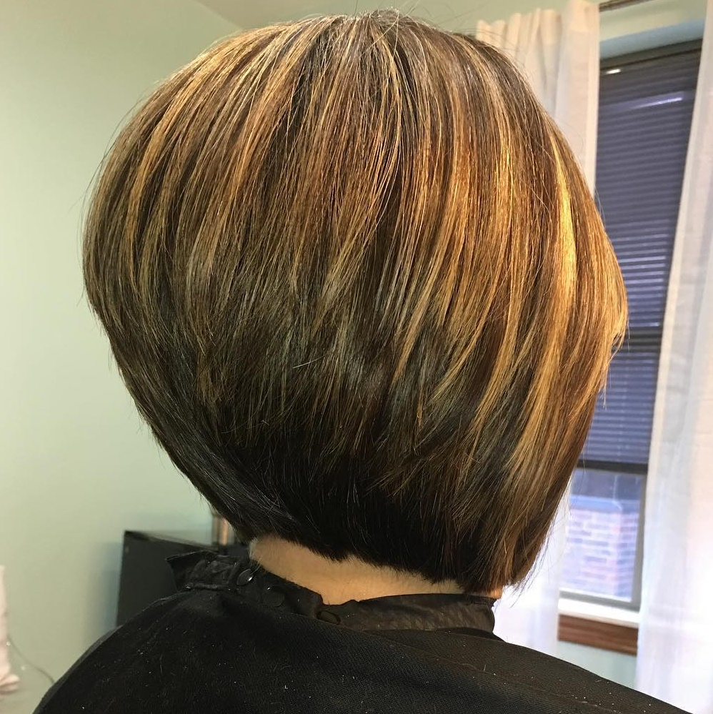 Straight Stacked Bob with Highlights