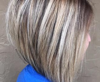 Brown Blonde Inverted Bob
