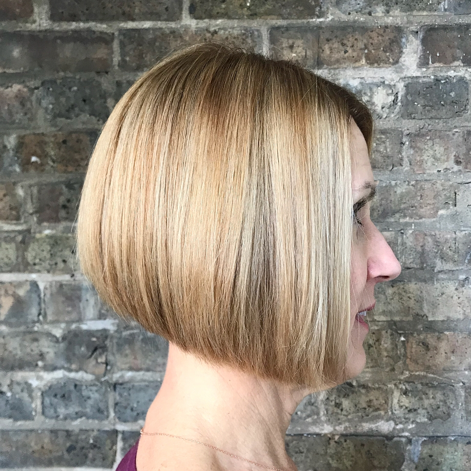 A-Line Bob with Blonde Balayage