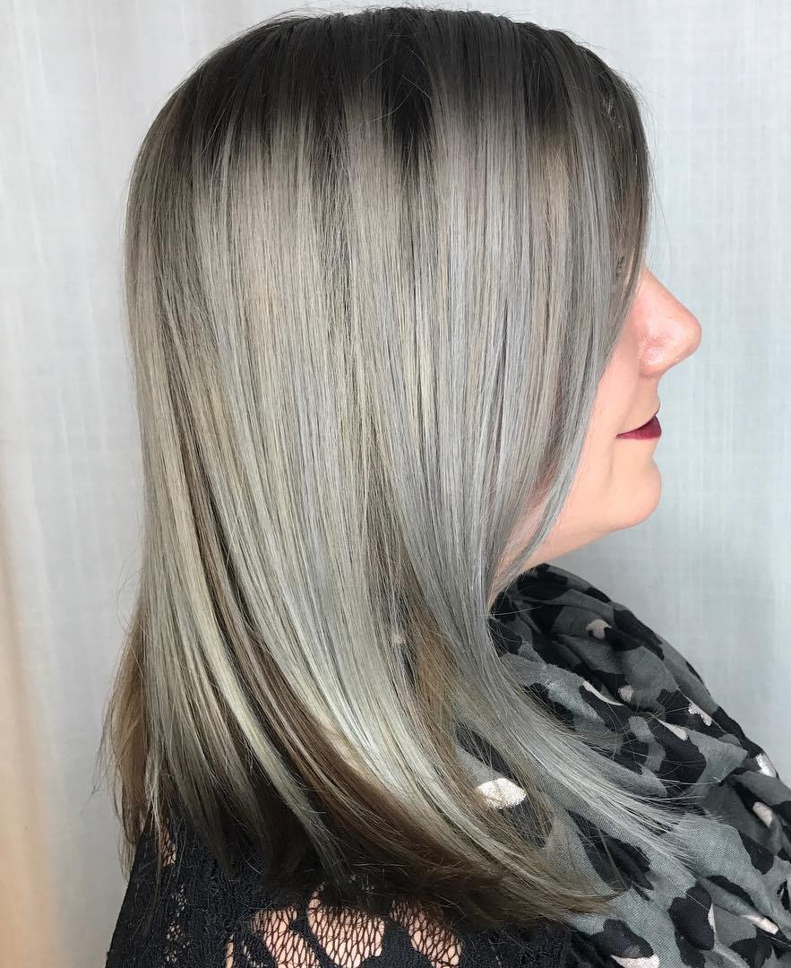 Silver Balayage for Brown Shoulder-Length Hair
