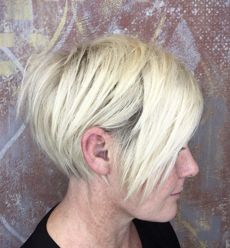 Long Choppy White Blonde Pixie