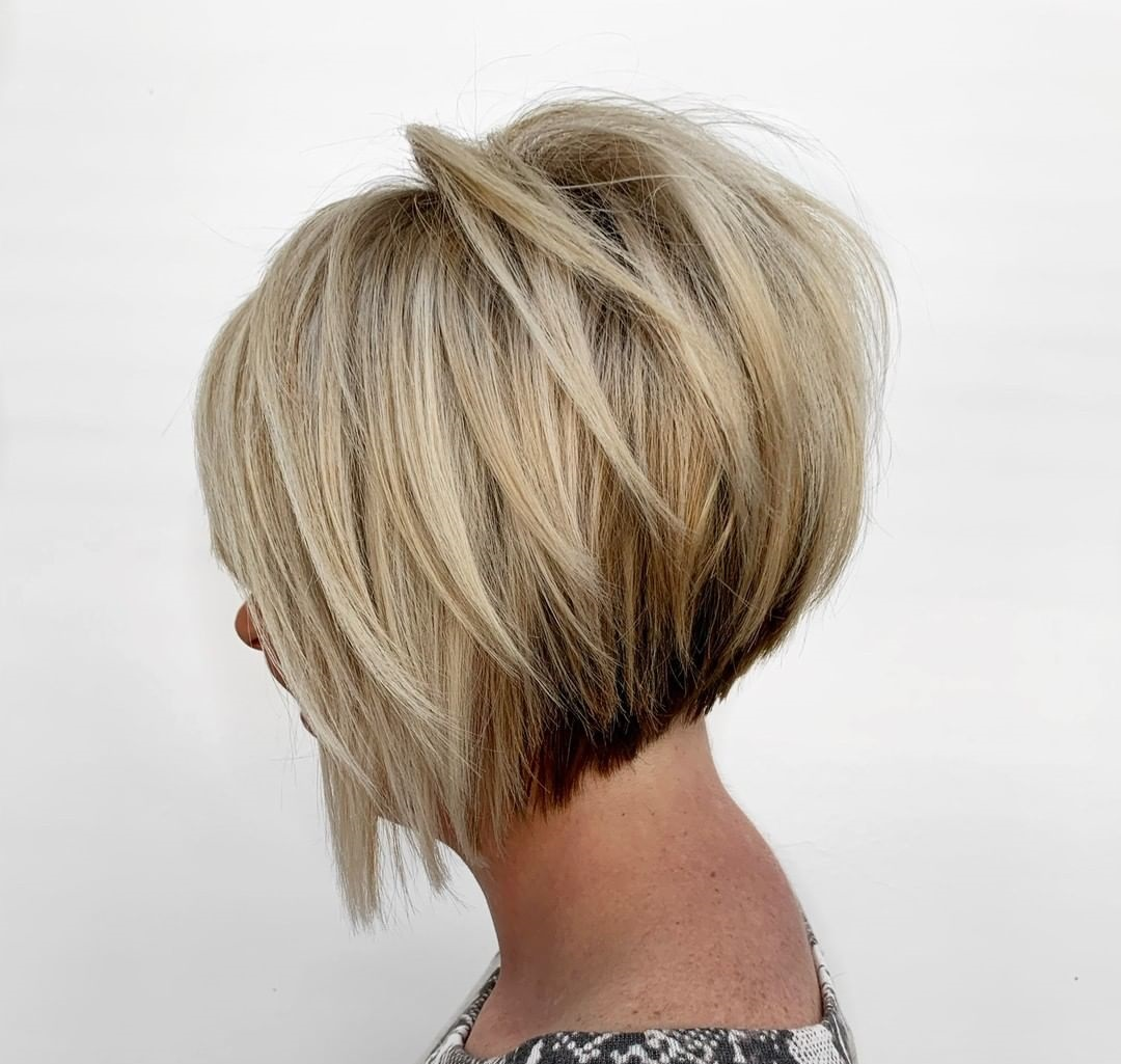 Blonde Inverted Bob with Angled Layers