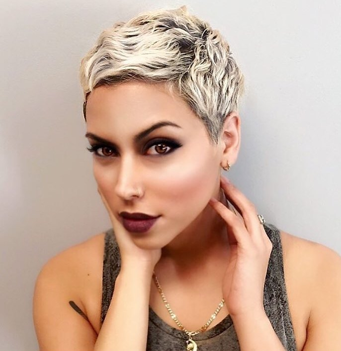 Very Short Blonde Pixie with Waves