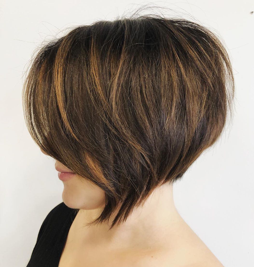 Stacked Bob with Bronze Highlights