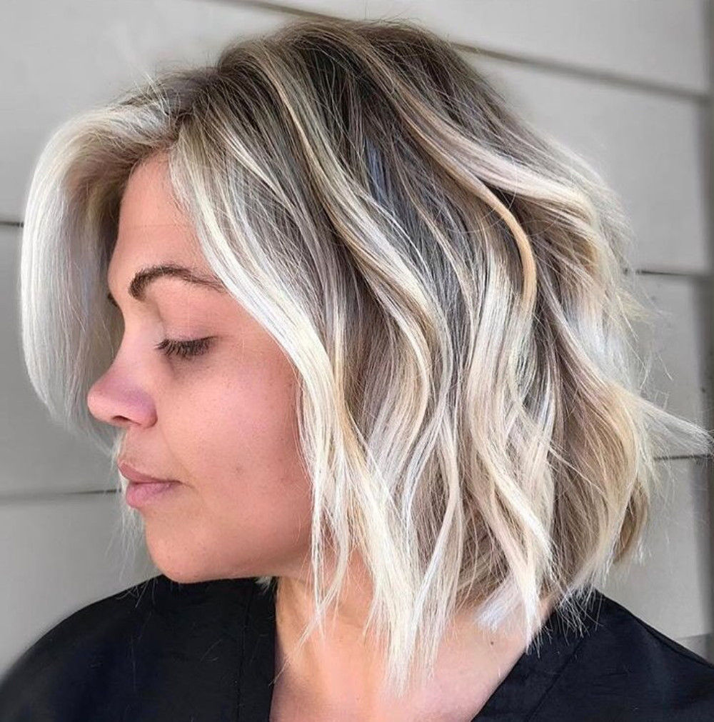 Dishwater Blonde Bob with Platinum Balayage