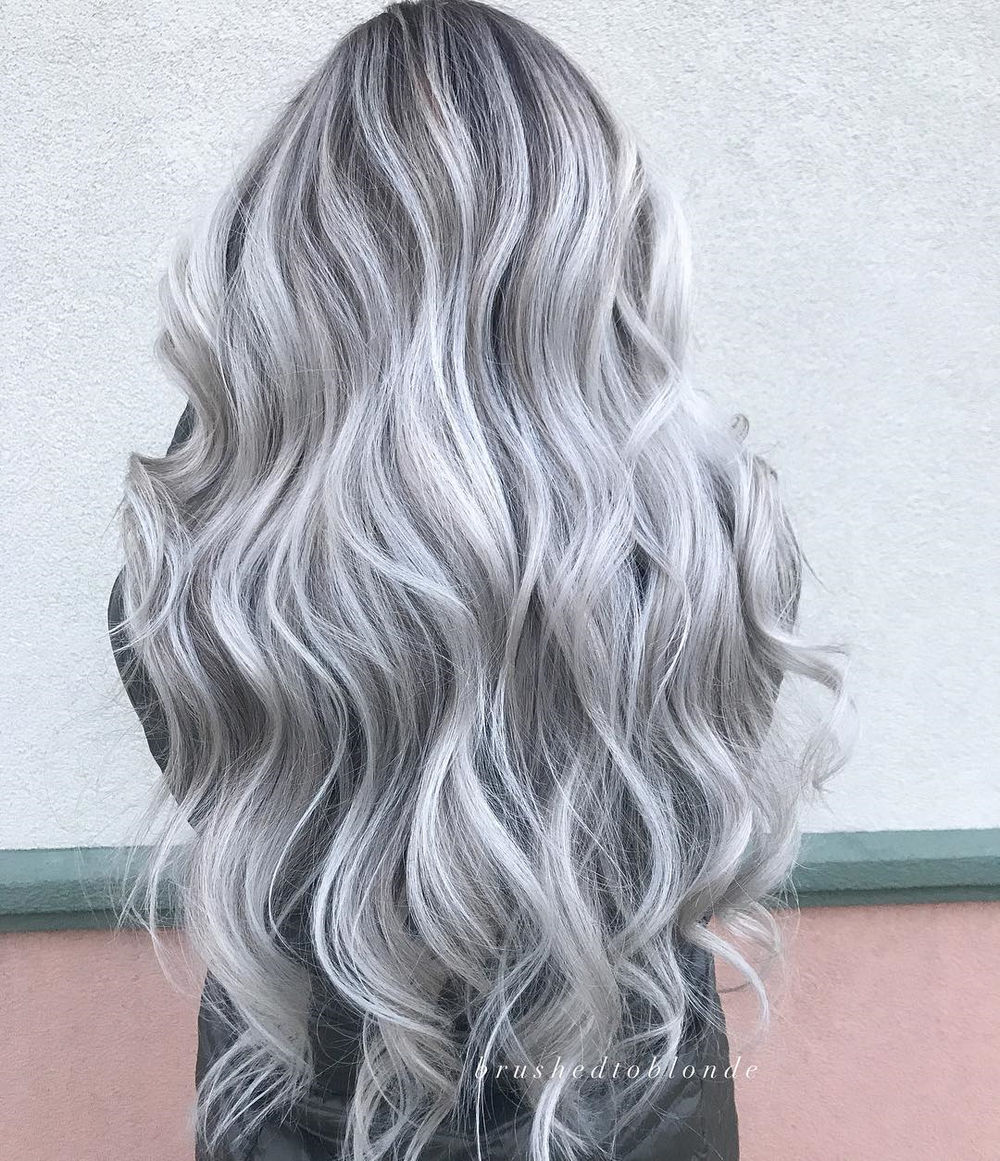 Long Silver Hair with Waves