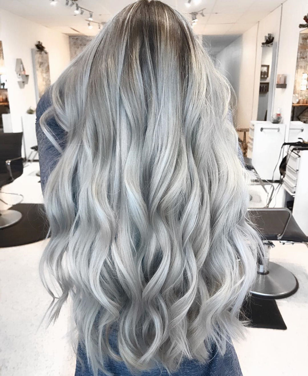 Extra Long Silver Hair with Curls