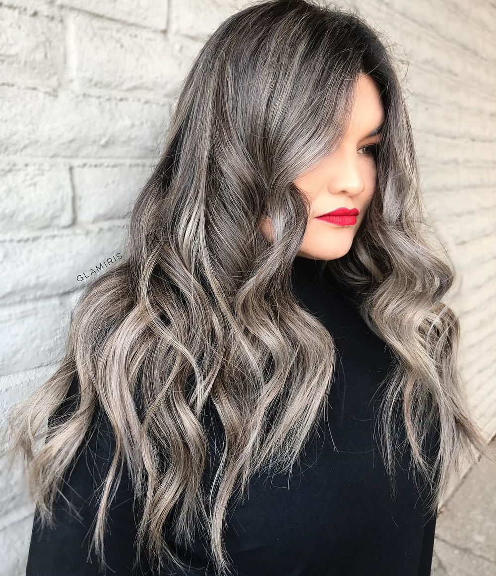 Silver Highlights for Long Black Hair