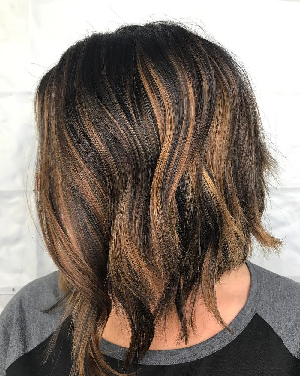 Asymmetrical Bob with Highlights
