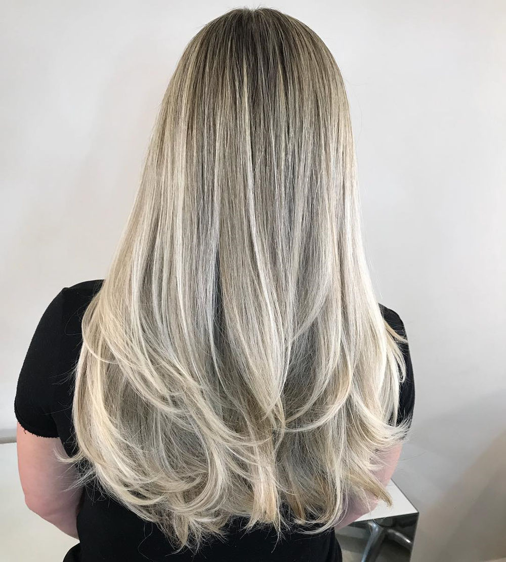 Long Feathered Hair with White Balayage