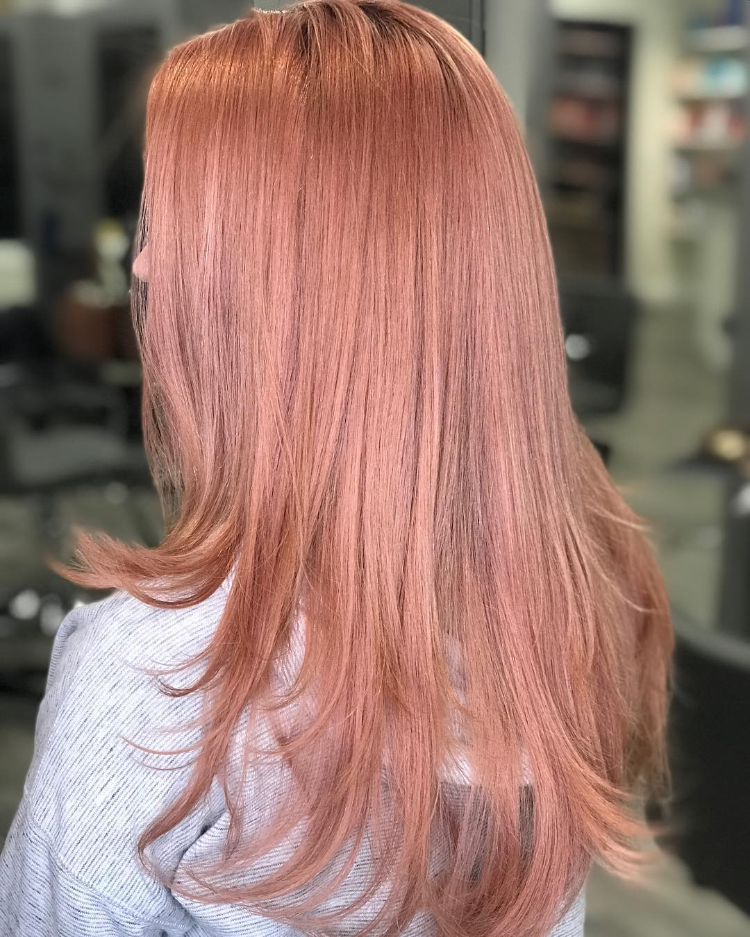 Long Layered Rose Gold Hair
