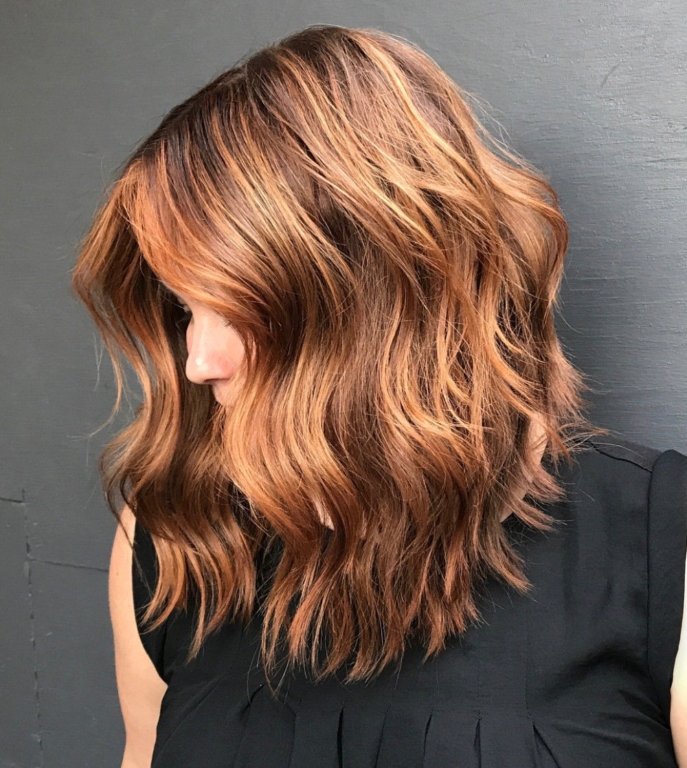 Long Ginger Red Bob with Waves