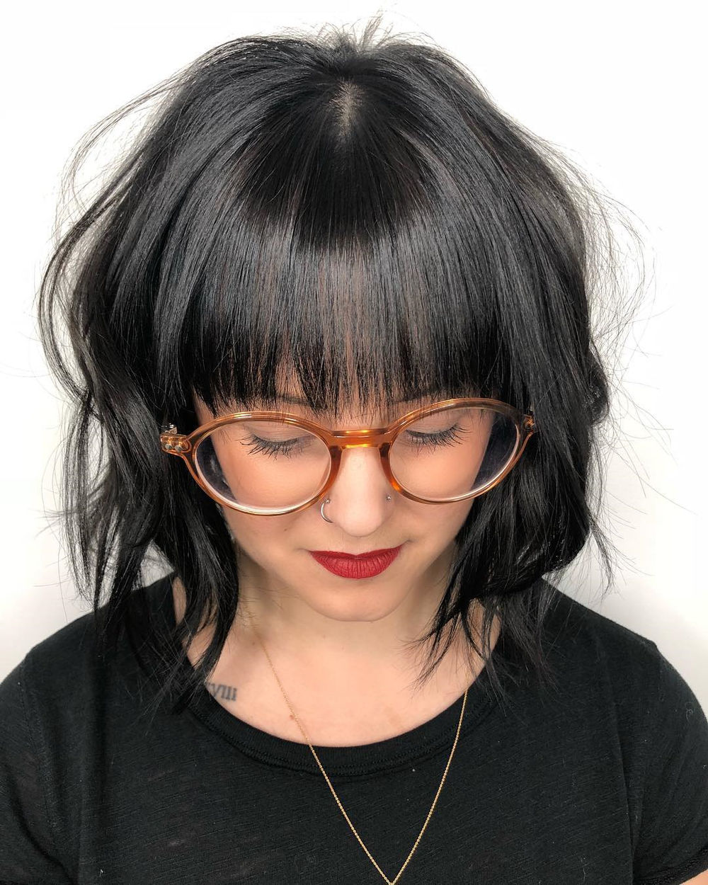 Black Wavy Bob with Straight Bangs