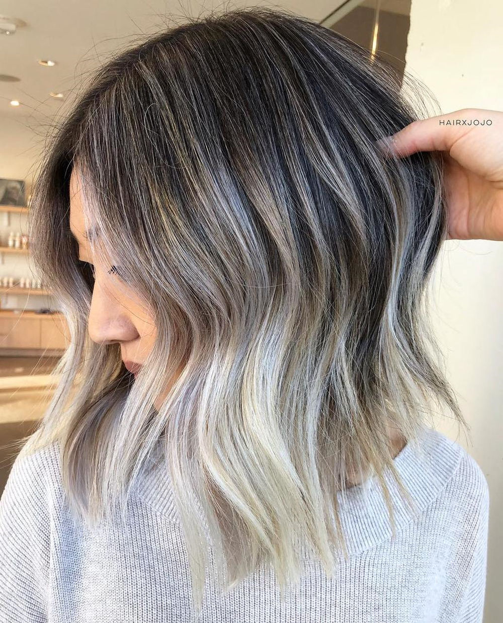 Cool Bronde Lob with Silver Highlights