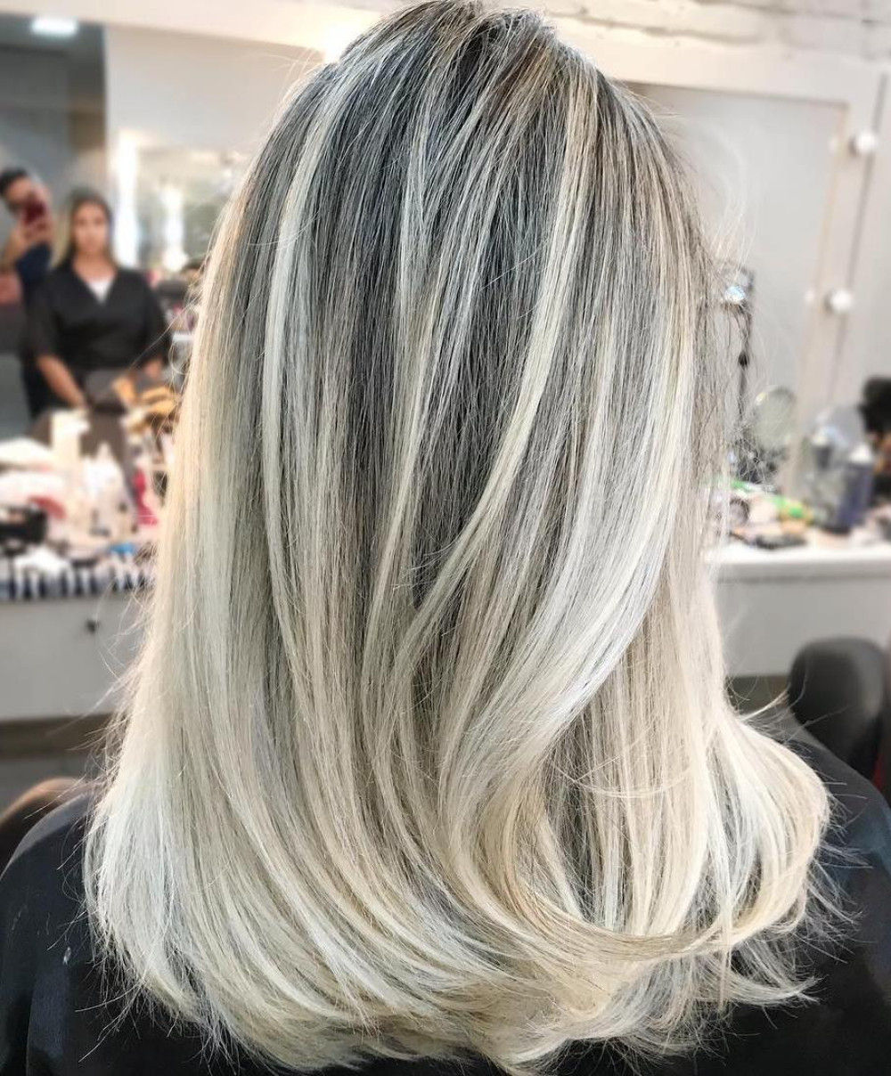 Cool Blonde Balayage with Silver Highlights