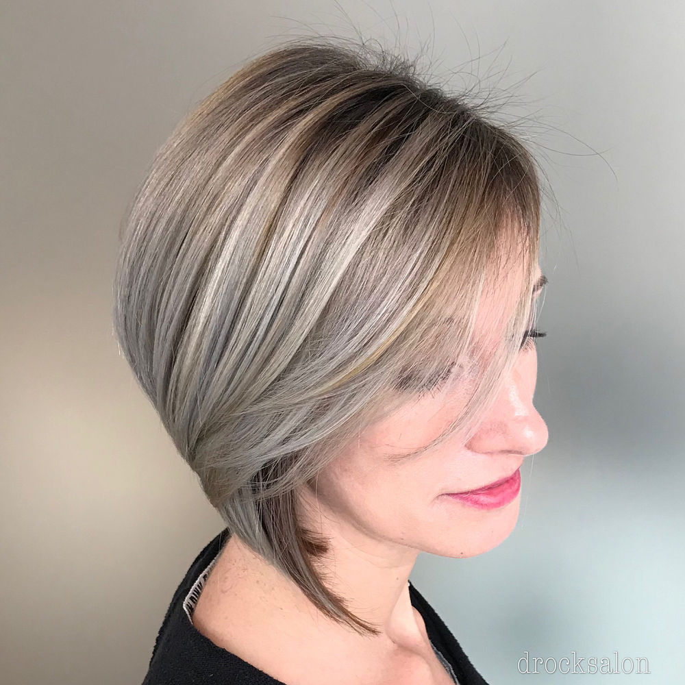 Dark Blonde Bob with Gray Highlights
