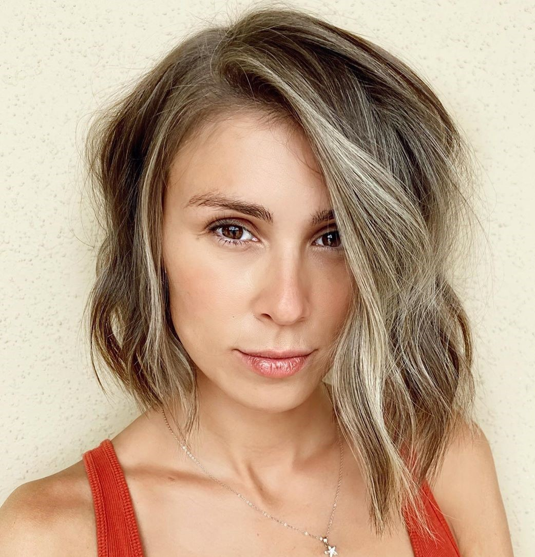 Asymmetrical Bob with Waves and Highlights