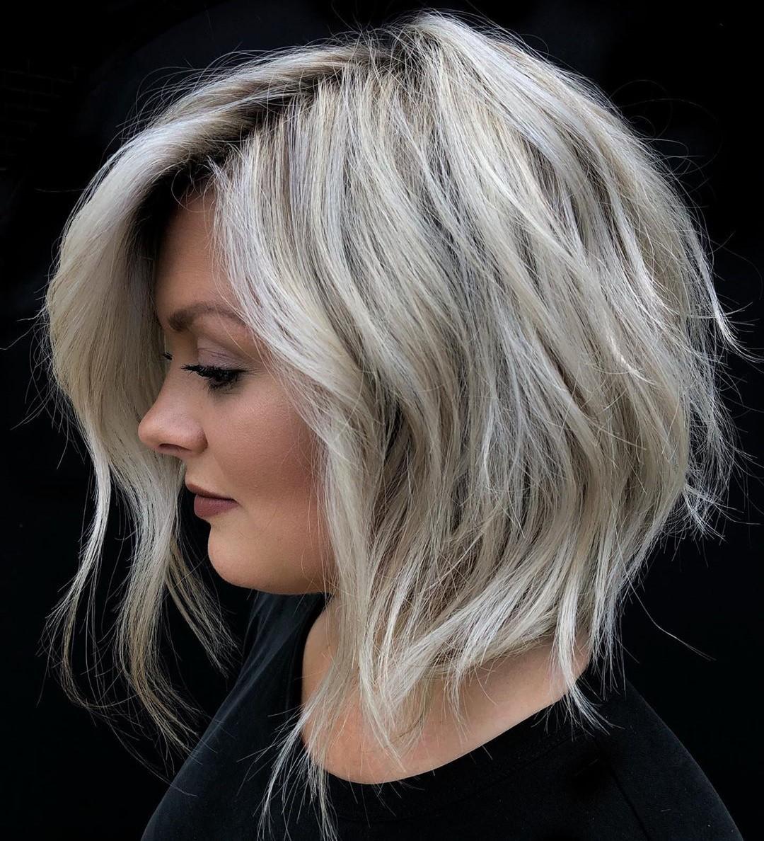 Blonde Layered Bob Haircut for Wavy Hair