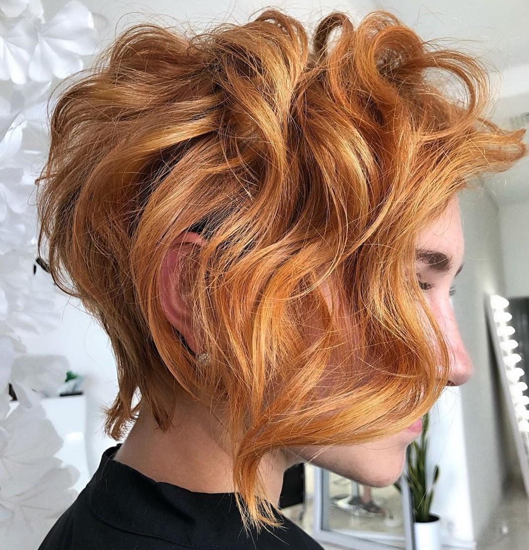 Asymmetrical Pixie Bob for Wavy Hair