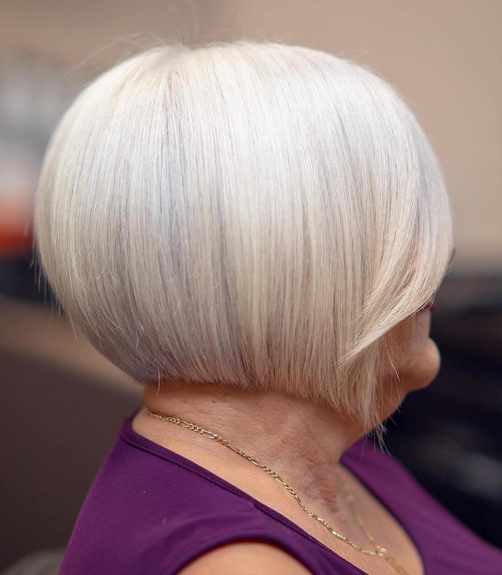 Rounded Straight Bob for Older Women with Thin Hair