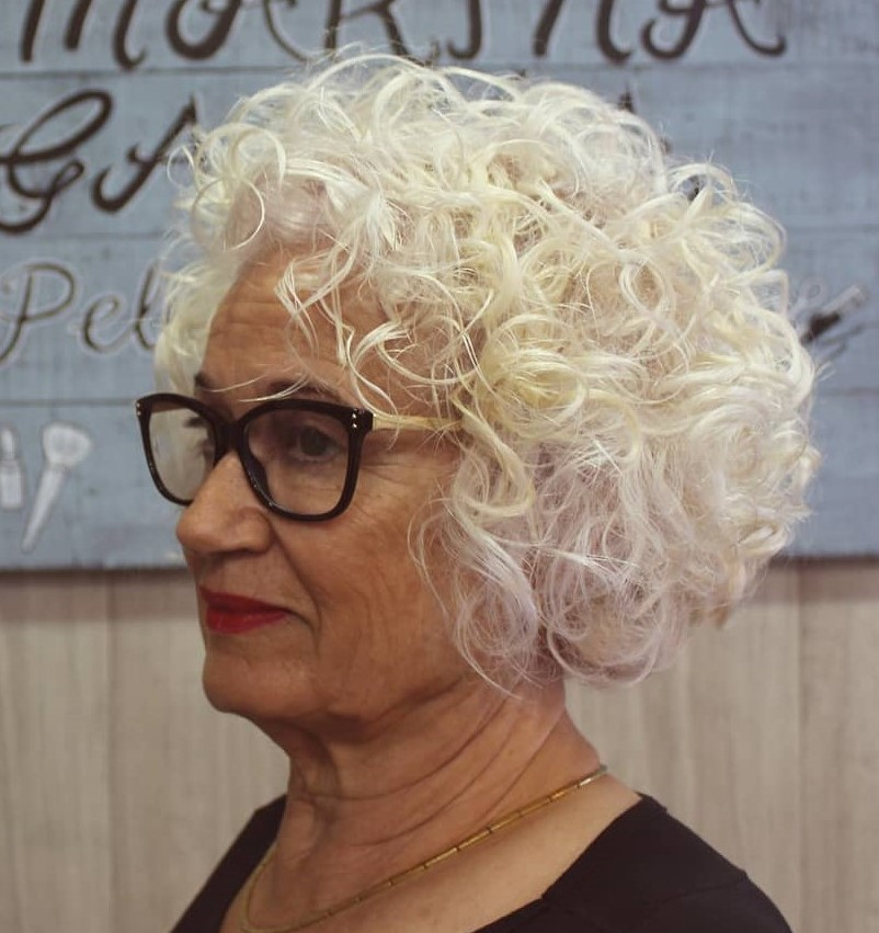 Curly Bob for over 50 Women with Thin Fine Hair